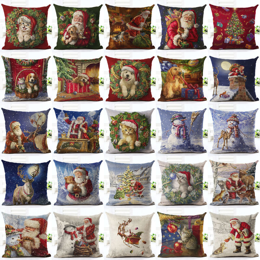 Throw Pillows Kijiji : Vintage Christmas Santa Cartoon Sofa Bed Home Decor Pillow Case Cushion Cover eBay