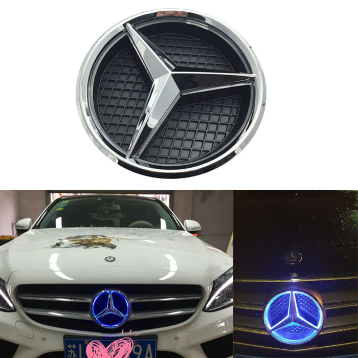 Illuminated blue led light front grille emblem badge for for Mercedes benz symbol light