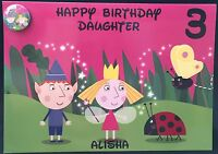 Personalised Ben & Holly's Little Kingdom Birthday Card Cards Pin Badge A5 Size