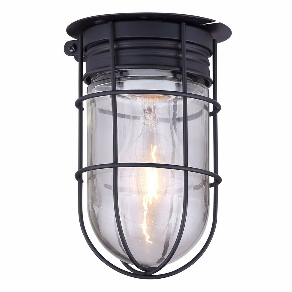 Outdoor Caged Light Barn Ceiling Exterior Wall All Weather with Cage, Black eBay