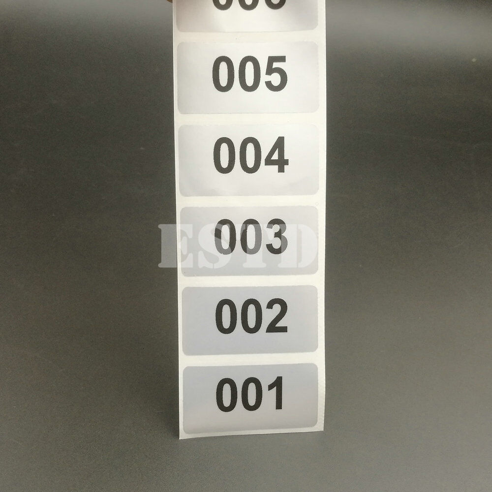 Details about 6000 labels 1 to 6000 consecutive number stickers silver waterproof