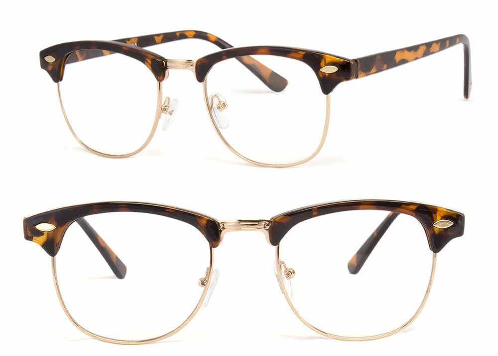 9fa28b83f642 Details about Retro Fashion Vintage Gold Clear Lens Nerd Frames Glasses Mens  Womens Half Metal