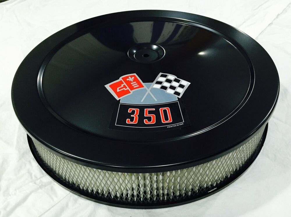 Gm Performance Air Cleaner : Black chevrolet air cleaner quot round bbl white filter