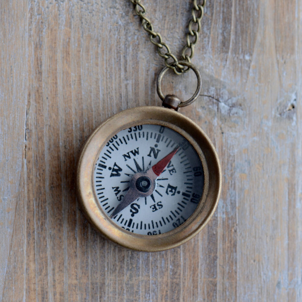 Mini Compass Necklace Pendant Real Functional WORKING ...