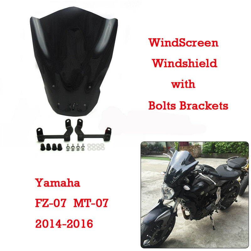 windshield windscreen with bolts bracket for yamaha mt 07. Black Bedroom Furniture Sets. Home Design Ideas