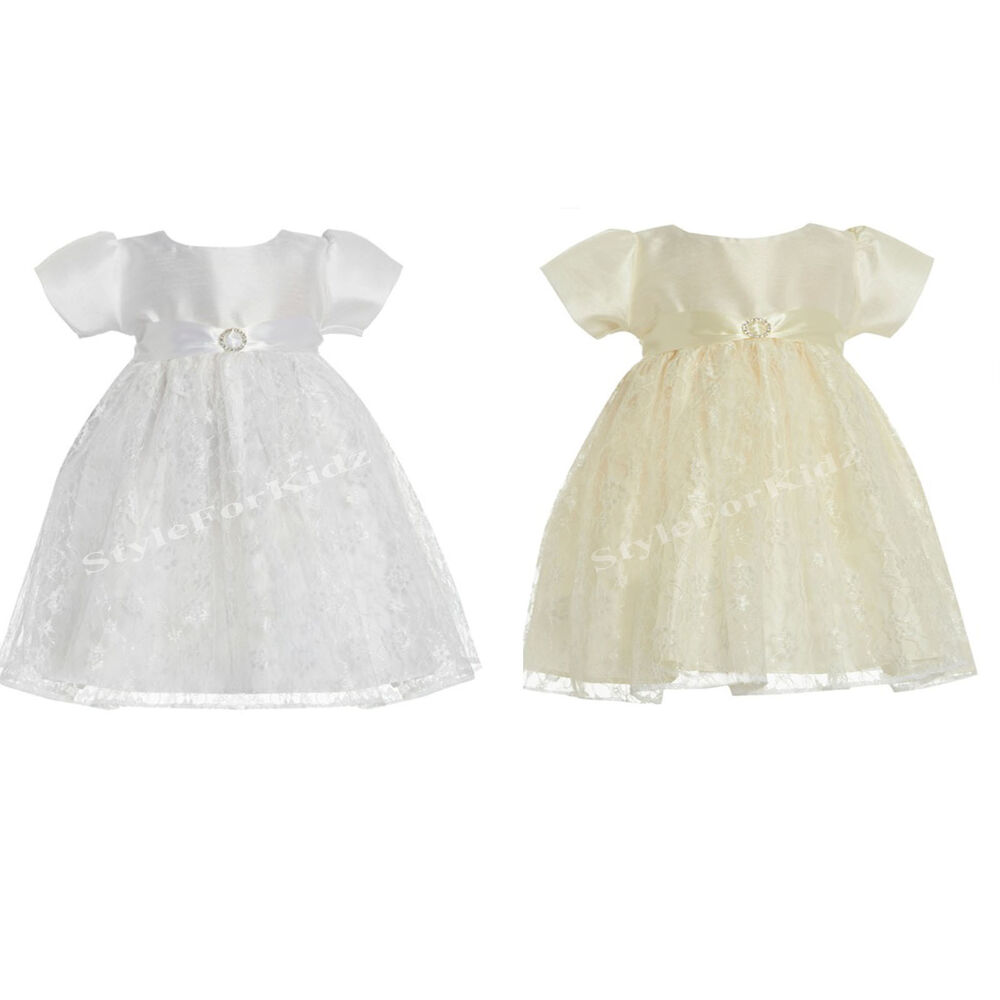 BABY GIRLS CHRISTENING DRESS BRIDESMAID WEDDING WHITE