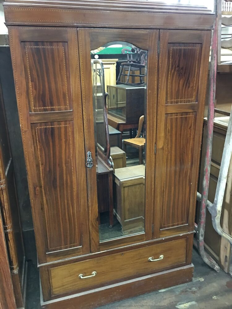 antique inlaid mahogany english wardrobe armoire with. Black Bedroom Furniture Sets. Home Design Ideas