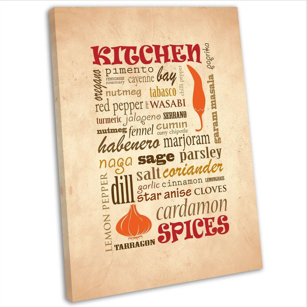 Kitchen Spices Theme Wall Art Canvas Print Framed Picture ...