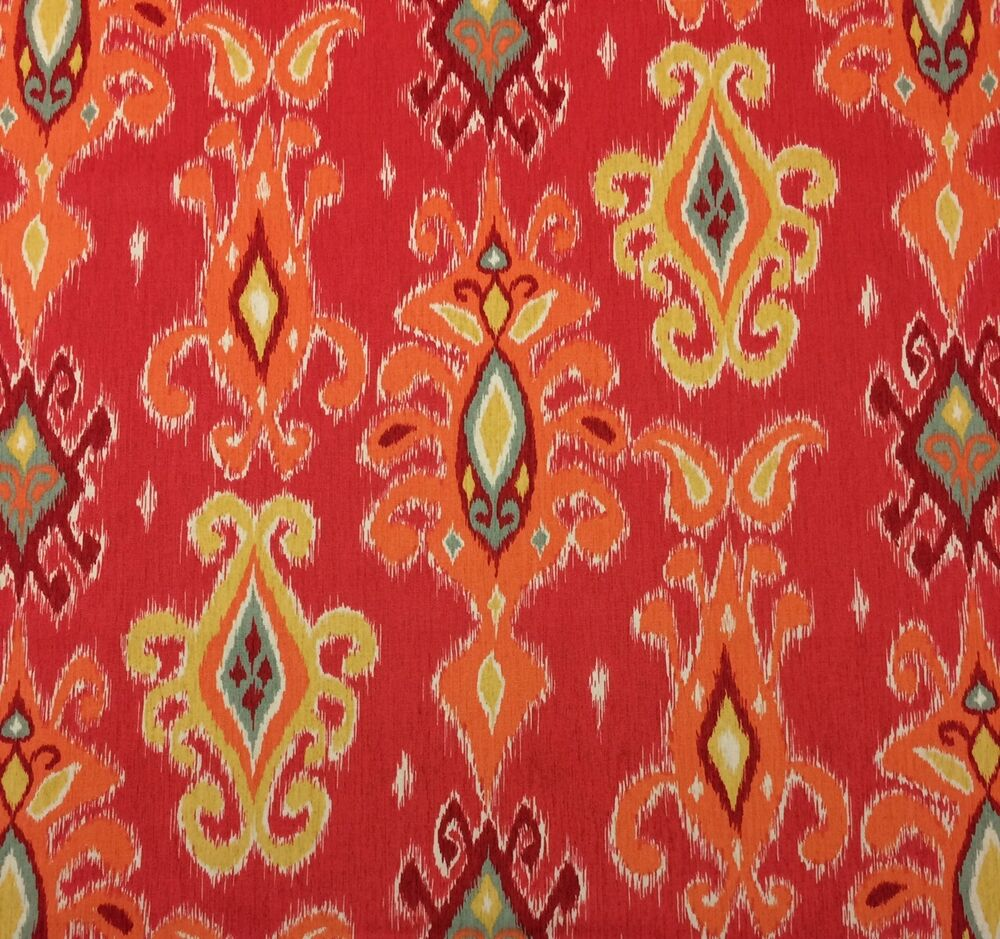 Richloom Siam Coral Red D4169 Ikat Orange Yellow Multiuse