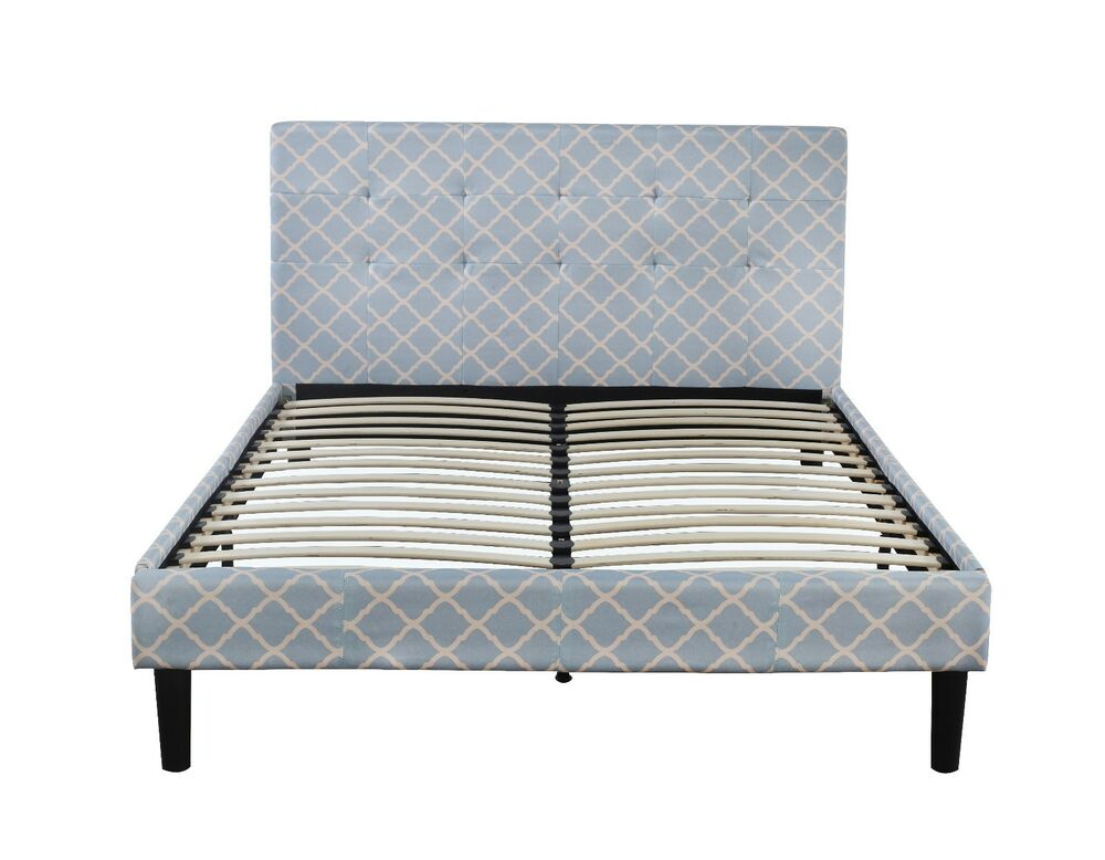 Classic Linen Low Profile Platform Bed Frame With Tufted Headboard Queen