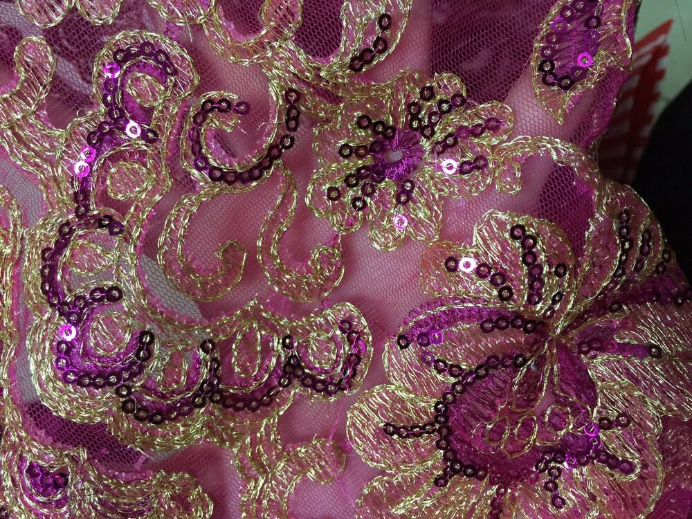 Pink mesh floral embroidery lace fabric yard