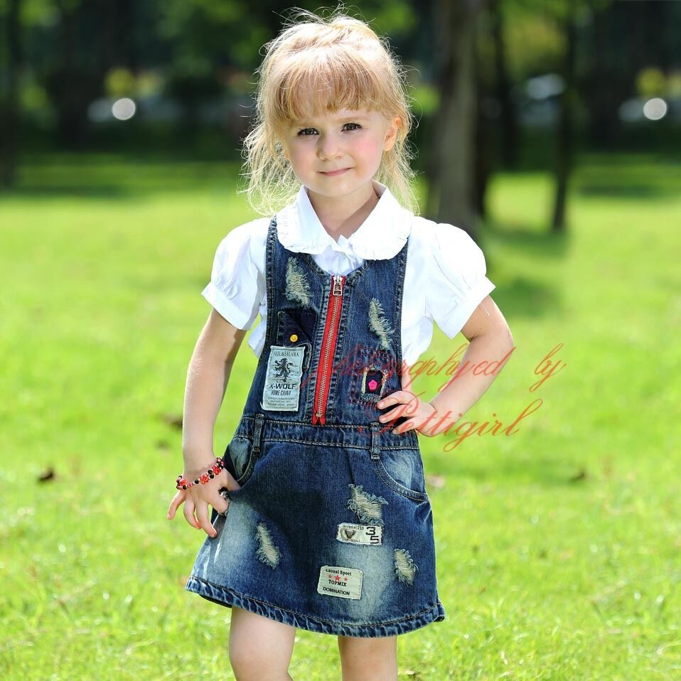 Girls Dungaree Pinafore Dress Kids Denim Overalls Dresses ...