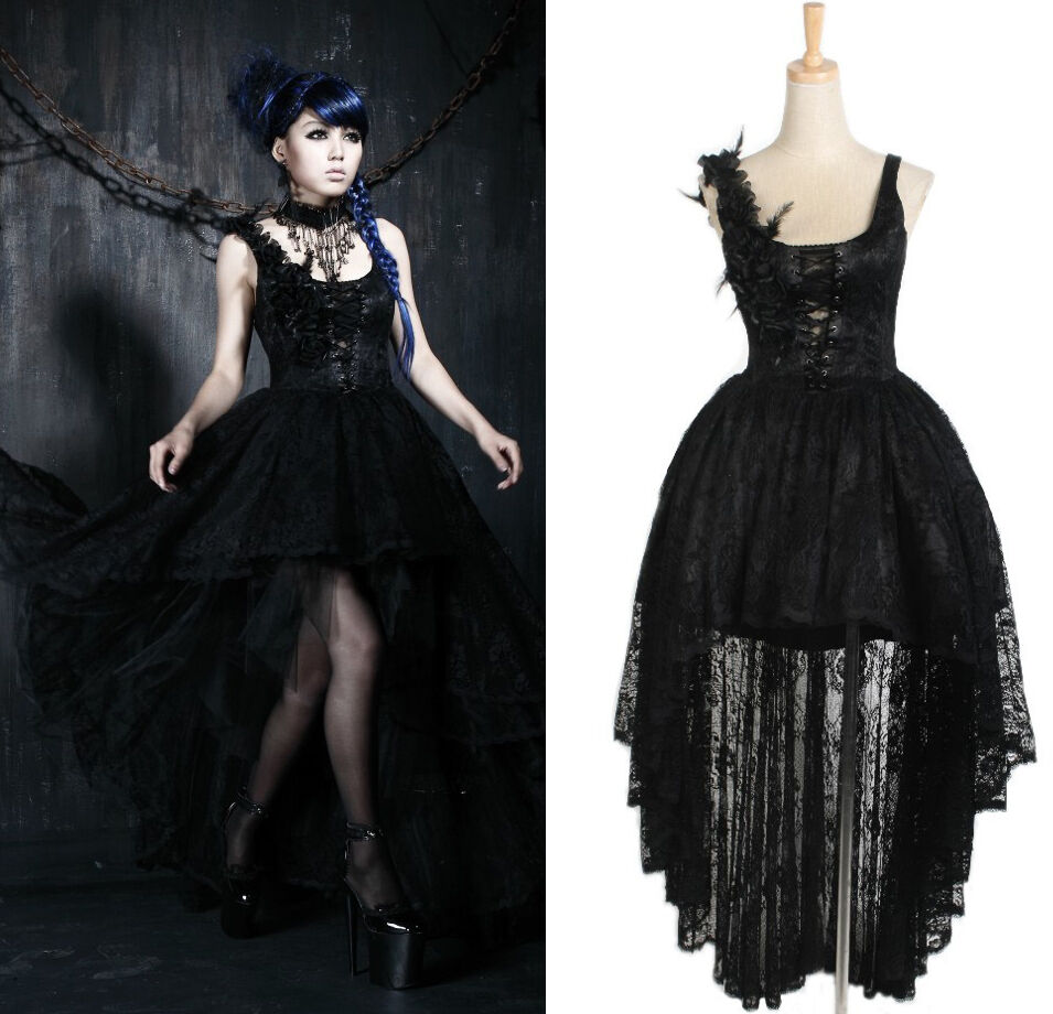 Gothic Black Lace Wedding Dress Long Ball Gown Bridal Gown: Punk Rave Gothic Evening Dress With Lace Train Gardenia