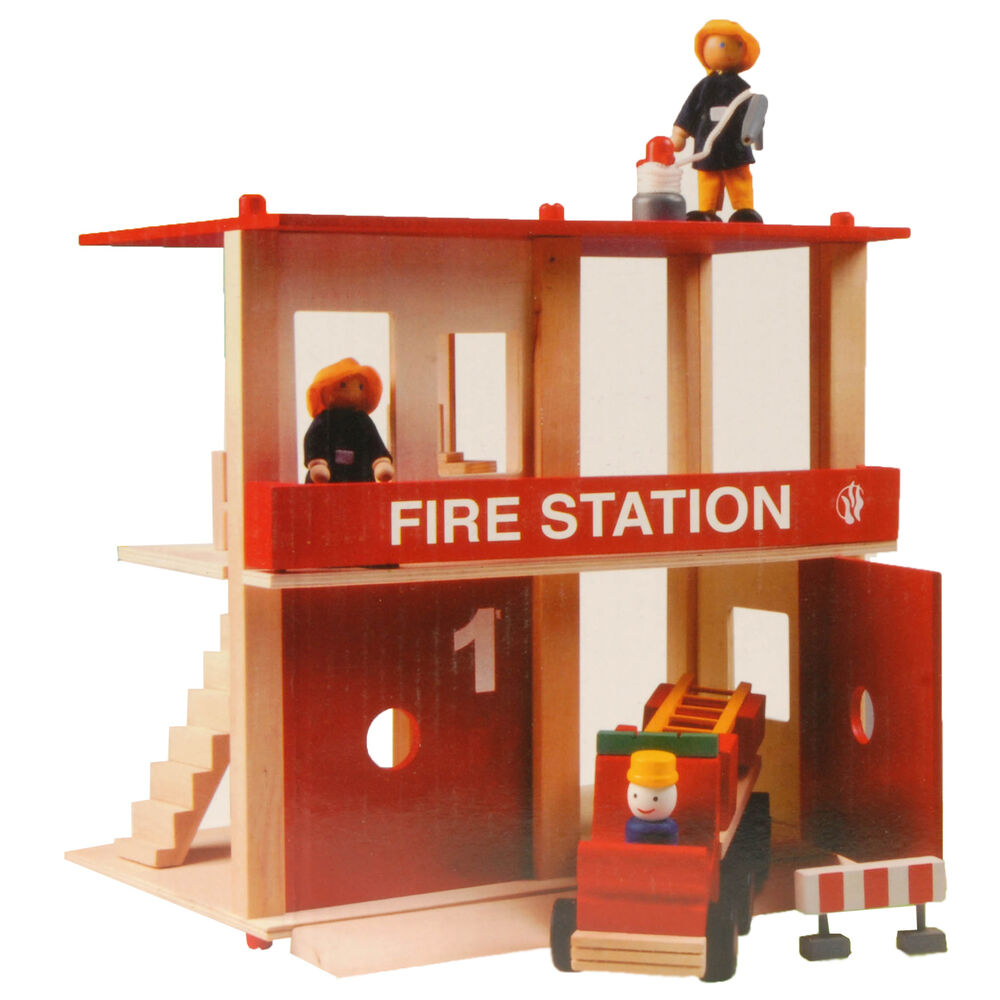 feuerwehrstation holz feuerwehr haus spielzeug modell aufbau auto geschenk kind ebay. Black Bedroom Furniture Sets. Home Design Ideas