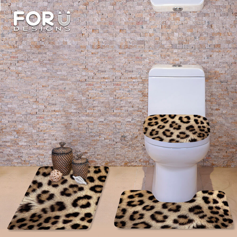 Trendy Animal Skin Leopard Toilet Seat Cover Rug Bathroom