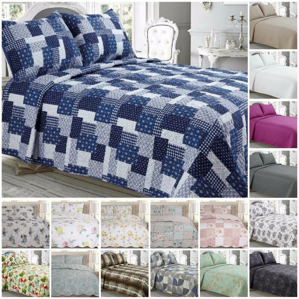 Luxury quilted bedspread throws with pillowcases double for Dreamfinity king size pillow