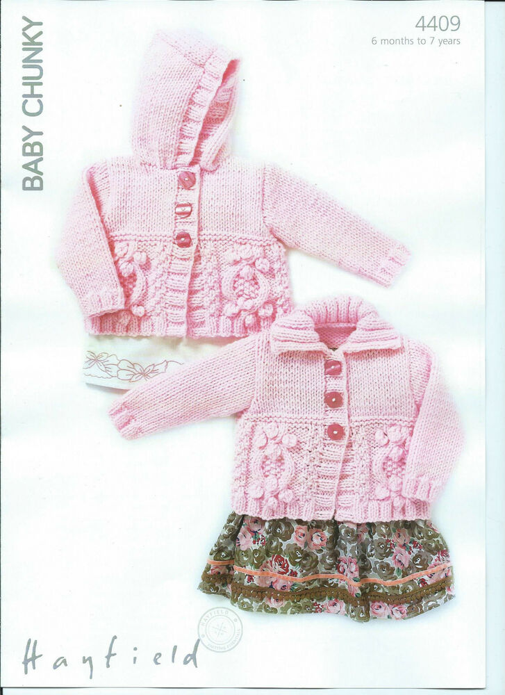 Hayfield Knitting Patterns For Babies : Girls Cardigans In Hayfield Baby Chunky, Knitting Pattern 4409 eBay
