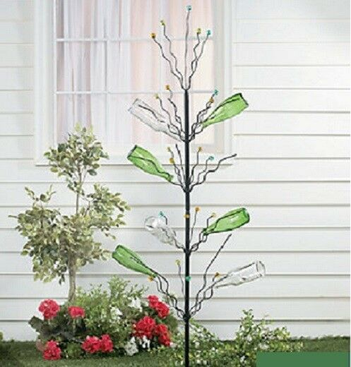 Unique tall bottle tree garden stake w marble tips yard for Tree decorations for garden