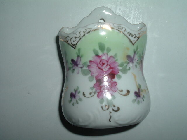 Vintage Hand Painted Floral Porcelain Wall Toothpick