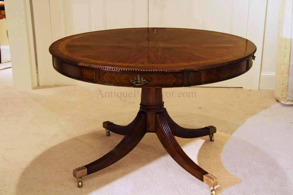 48 Inch Round Formal Duncan Phyfe Rosewood Dining Table With Drawers Drum Table Ebay