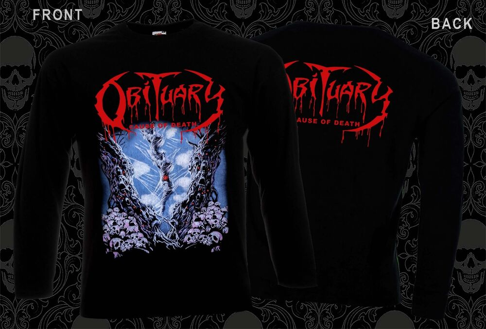 Obituary cause of death death metal band t shirt long for Xxl band t shirts