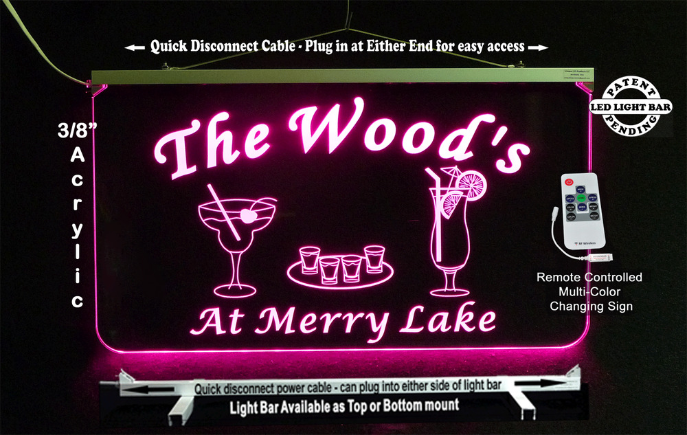 Personalized Bar Sign, Hanging Multi-Color Changing