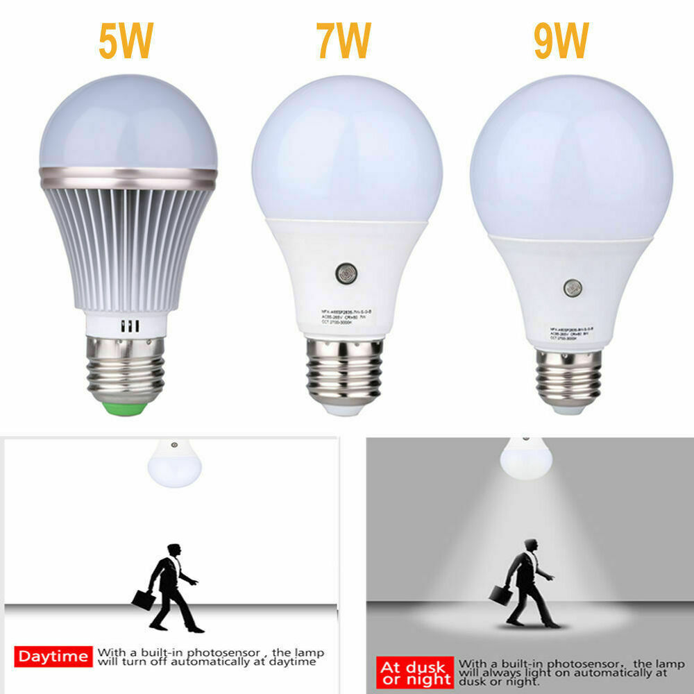 5w 7w 9w E27 Dusk To Dawn Auto Sensor Light Bulb Sensor Led Lamp Auto Lamp Bulbs Ebay