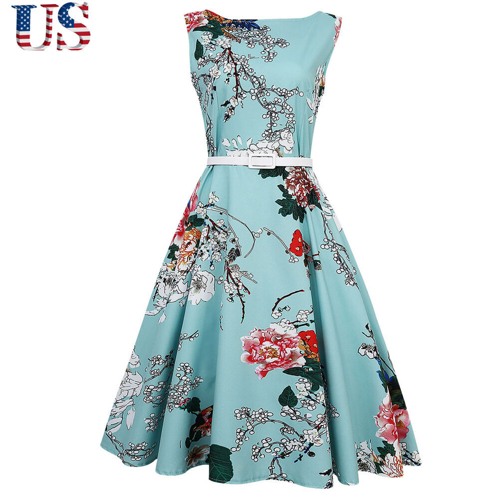 Vintage Women 50s 60s Retro Floral Rockabilly Pinup Housewife Party ...