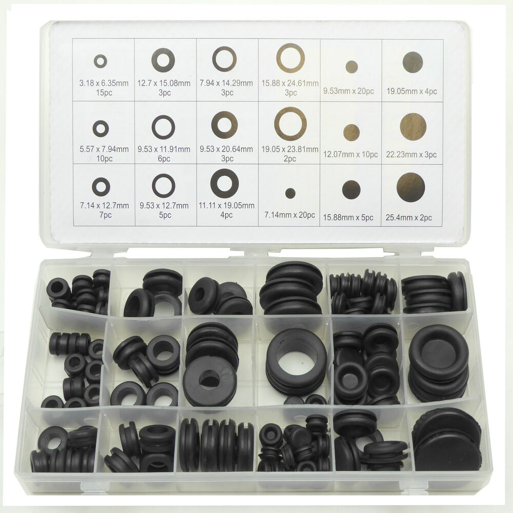 125pc Rubber Blanking Grommet Wiring Open Closed Blind
