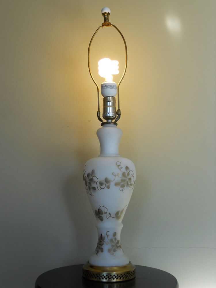 Vintage White Frosted Glass Lamp With Gold Flower Design