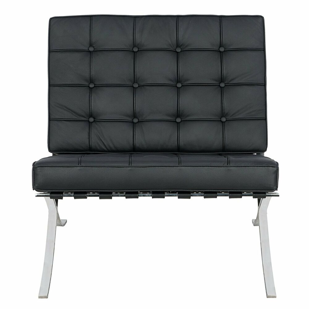 black modern barcelona style pavilion lounge chair in genuine italian