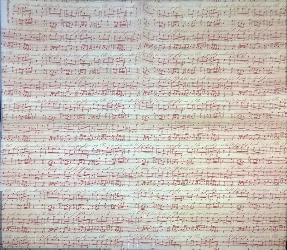 Vintage Red Music Notes 50x50 cm DFT200 Rice Paper Napkin for Decoupage