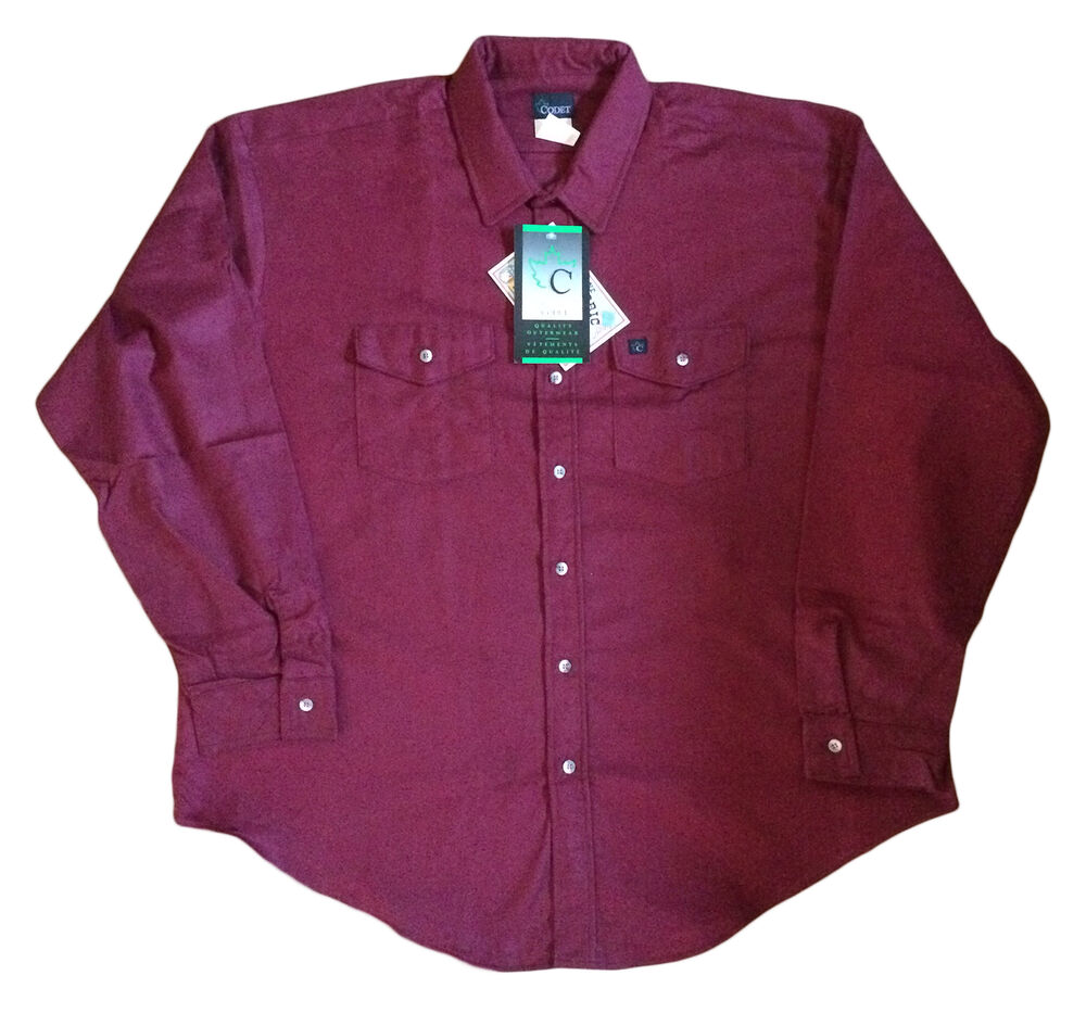 Codet Men 39 S Shirt Heavyweight 100 Cotton Chamois Burgundy