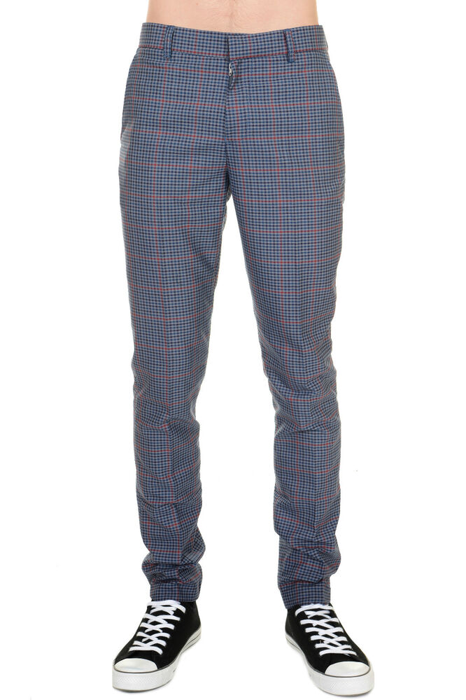 Mens 60s Vintage Retro Mod Blue Multi Check Tweed Slim Skinny Fitting  Trousers  c2e10401d