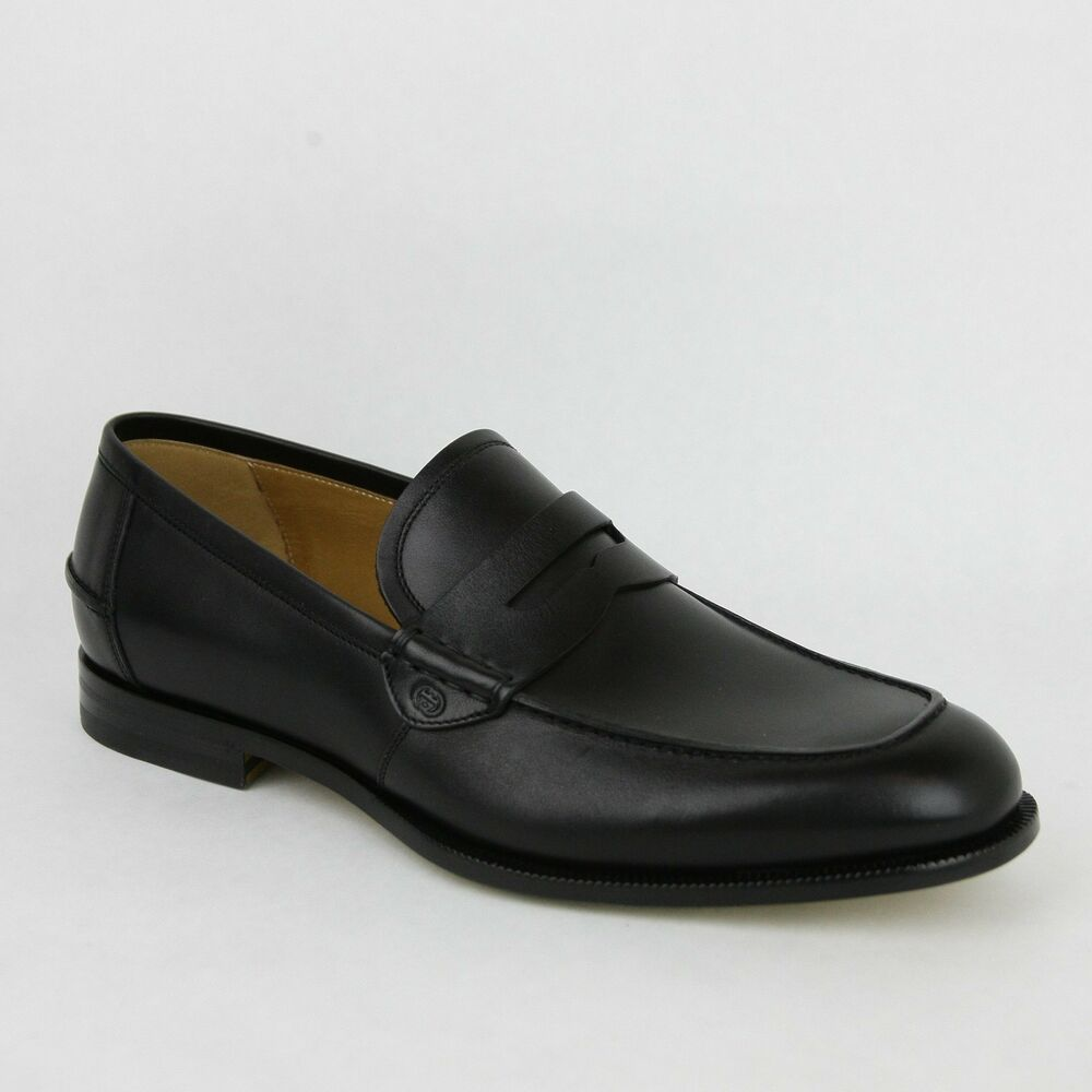 New Gucci Men's Black Leather Loafer Dress Shoes GG Detail ...
