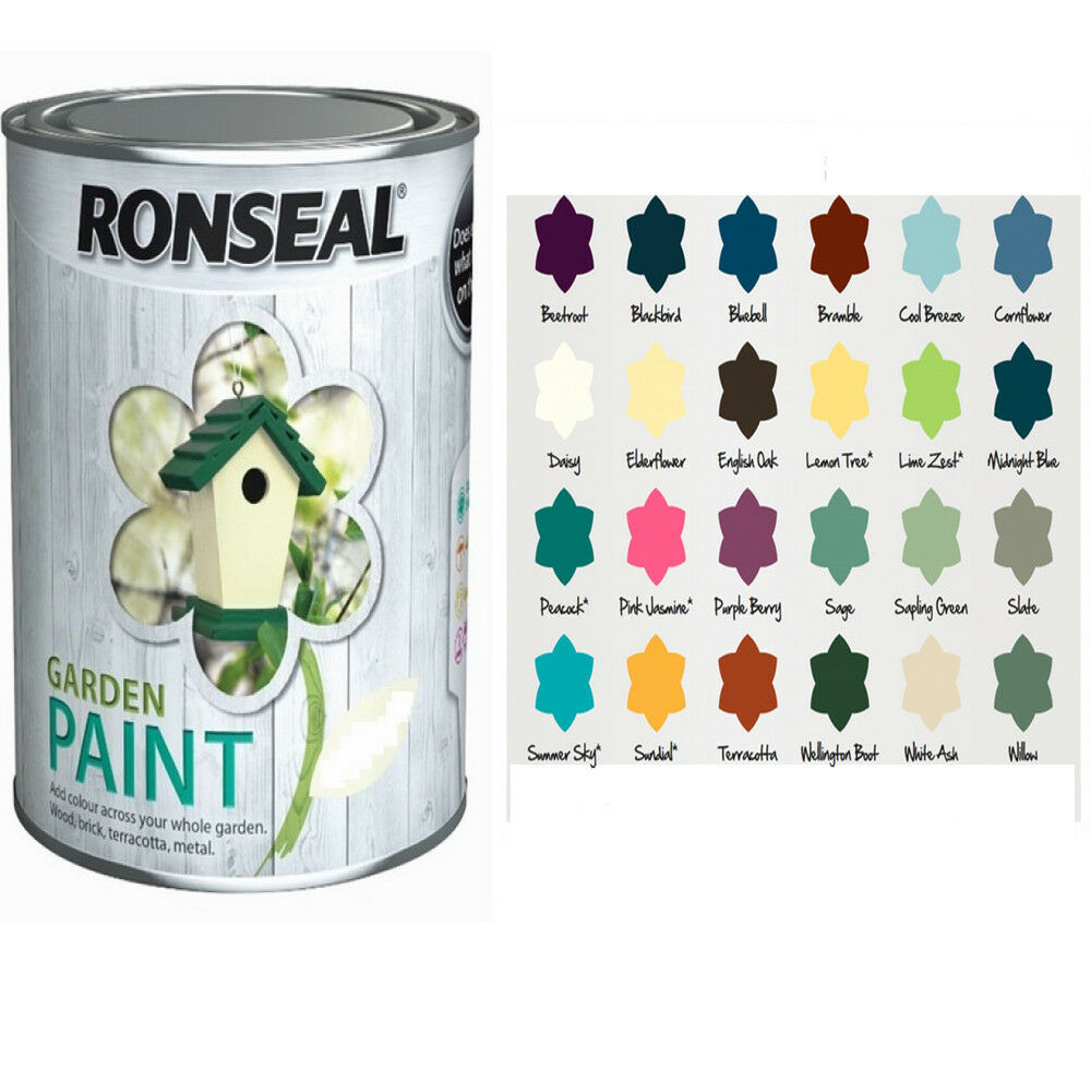 ronseal outdoor garden paint 750ml for wood metal stone. Black Bedroom Furniture Sets. Home Design Ideas