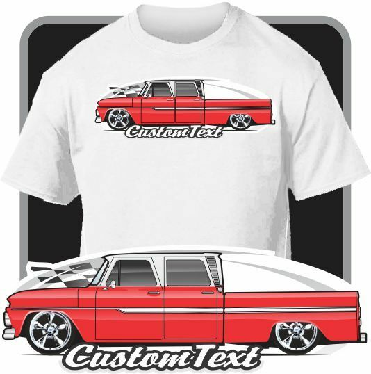 Custom Art T-Shirt for 1964 65 66 GMC Chevy C-10 Crew Cab ...