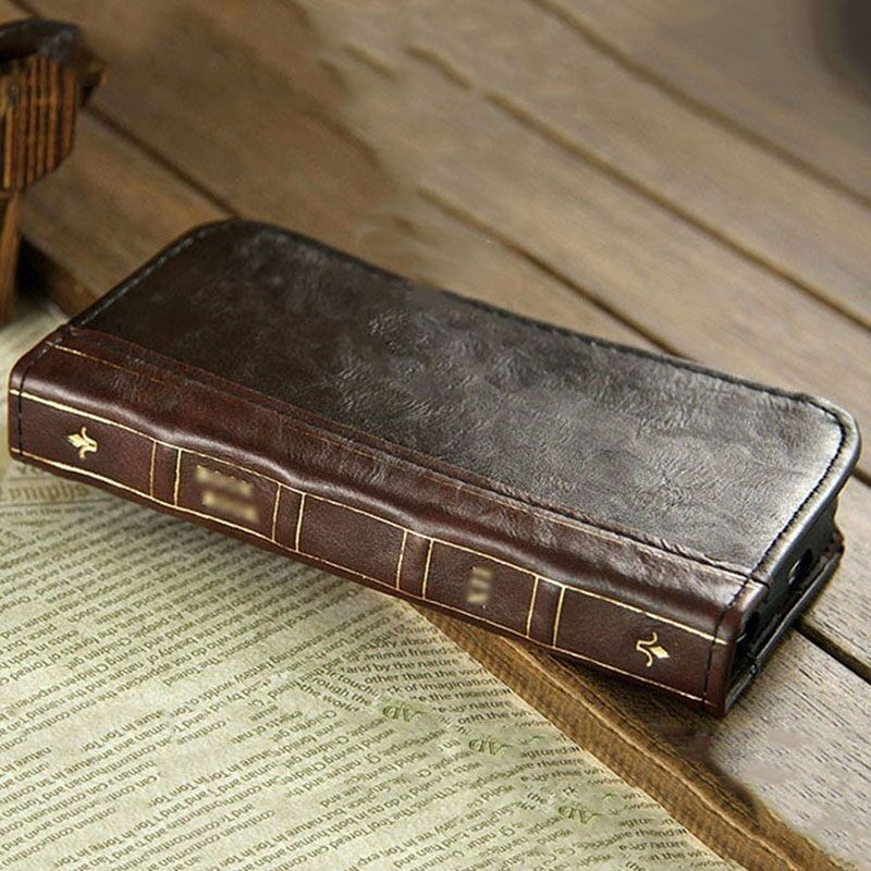 Old Book Phone Cover : Antique leather wallet retro classic vintage book case