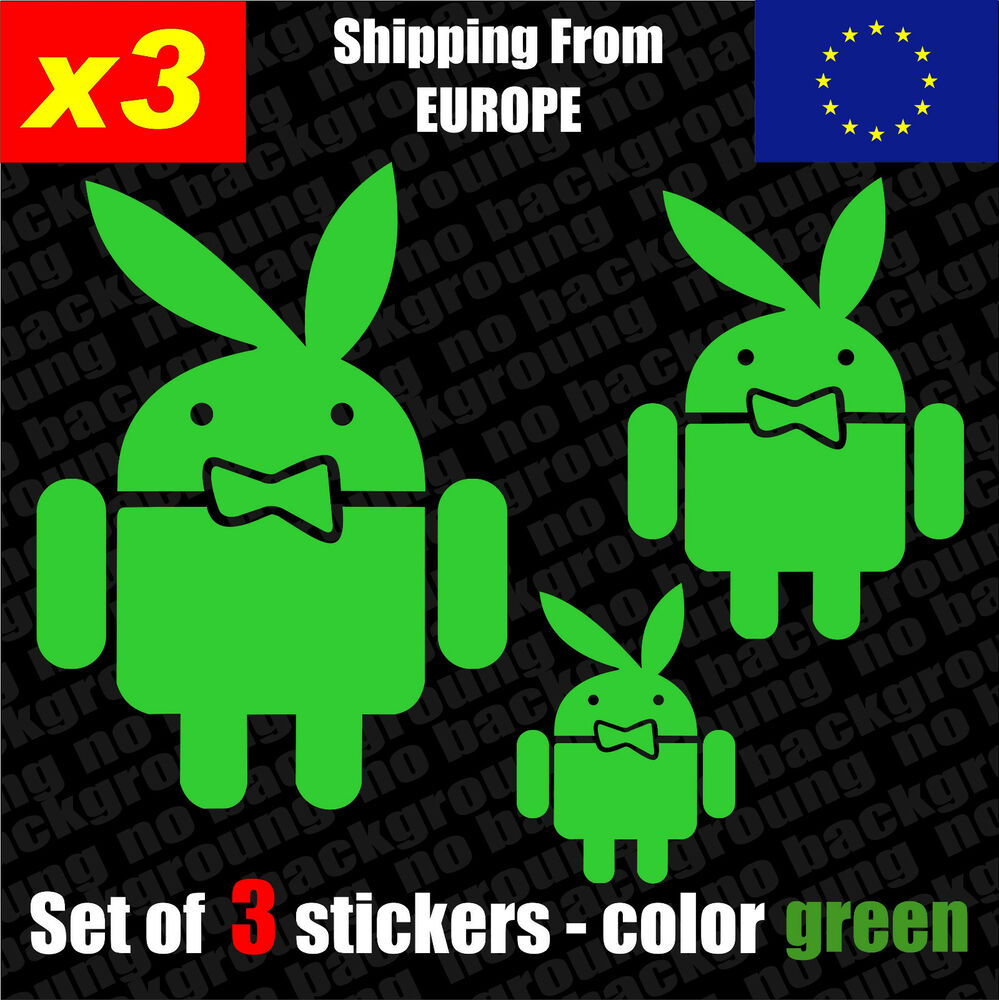 Set of 3 android playboy vinyl decal sticker aufkleber die cut ebay