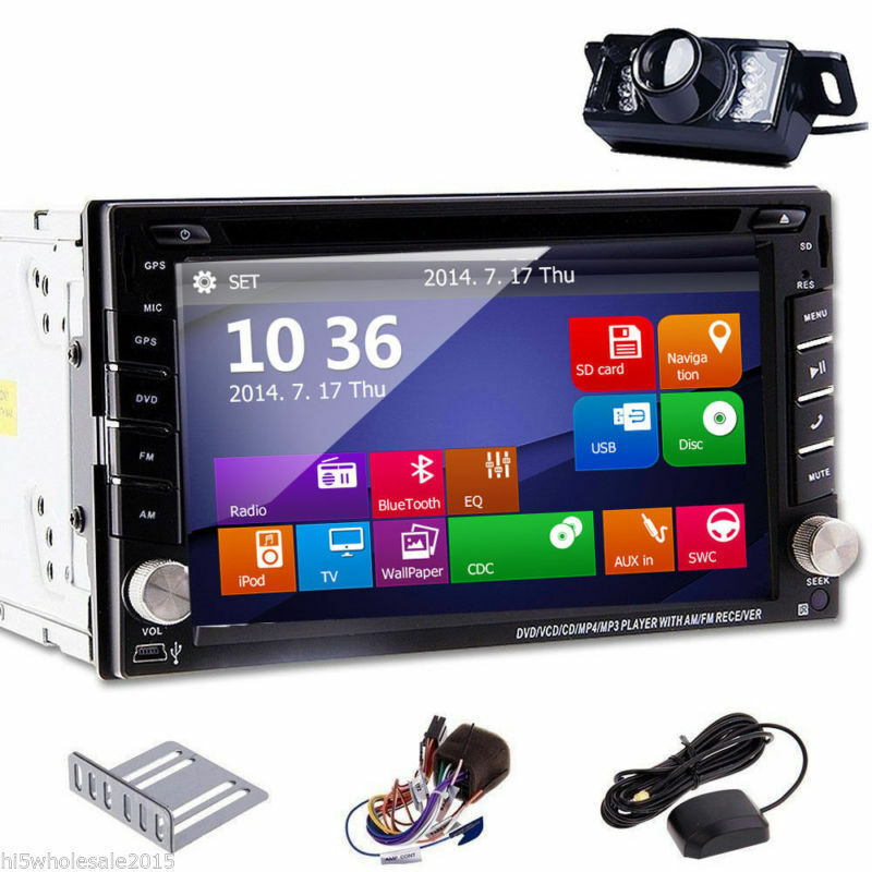 Touch Screen 2DIN In Dash GPS Nav Car DVD Player Bluetooth
