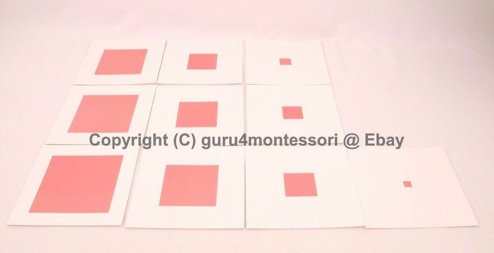 Details About Montessori Sensorial Material Pink Tower Control Chart