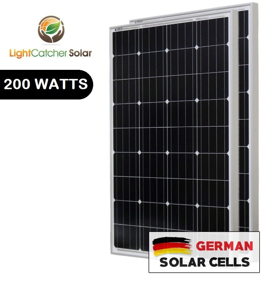 lcs solar panel 200 watts 2pcs 100w monocrystalline 12. Black Bedroom Furniture Sets. Home Design Ideas