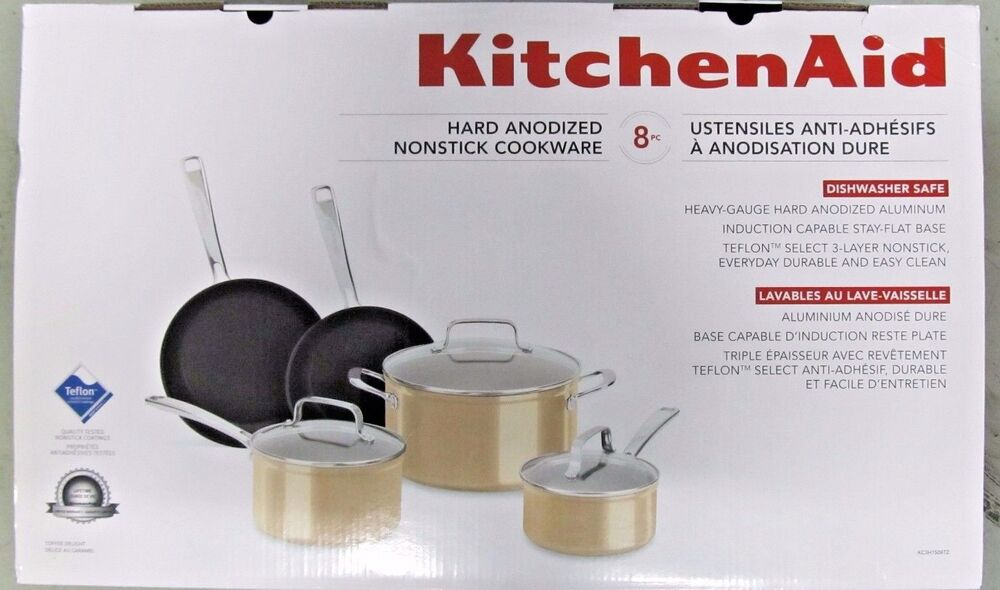 Kitchenaid hard anodized nonstick cookware 8 piece set gold ebay - Kitchenaid aluminum nonstick piece cookware set ...