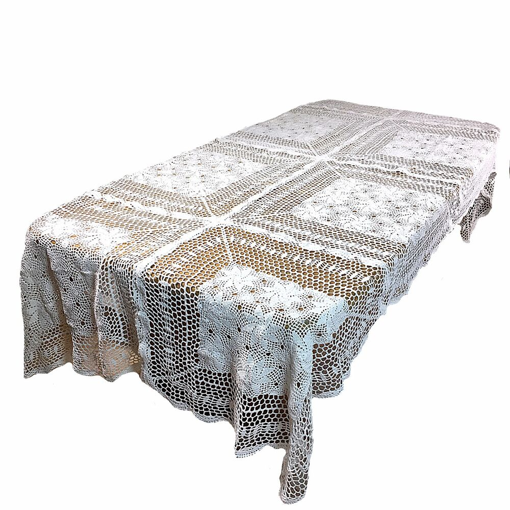 Dinning kitchen home handmade crochet vintage lace table for Table 60x120