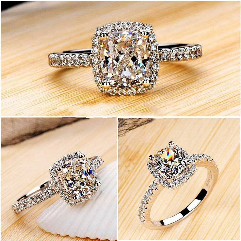 Fashion Women Zircon White Sapphire Silver Plated Wedding ... Jewellery Rings For Women