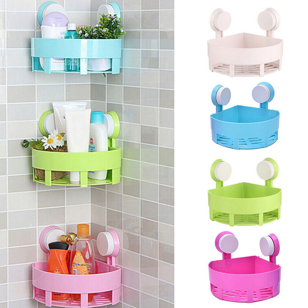 Bathroom Corner Shelf Suction Rack Organizer Cup Storage