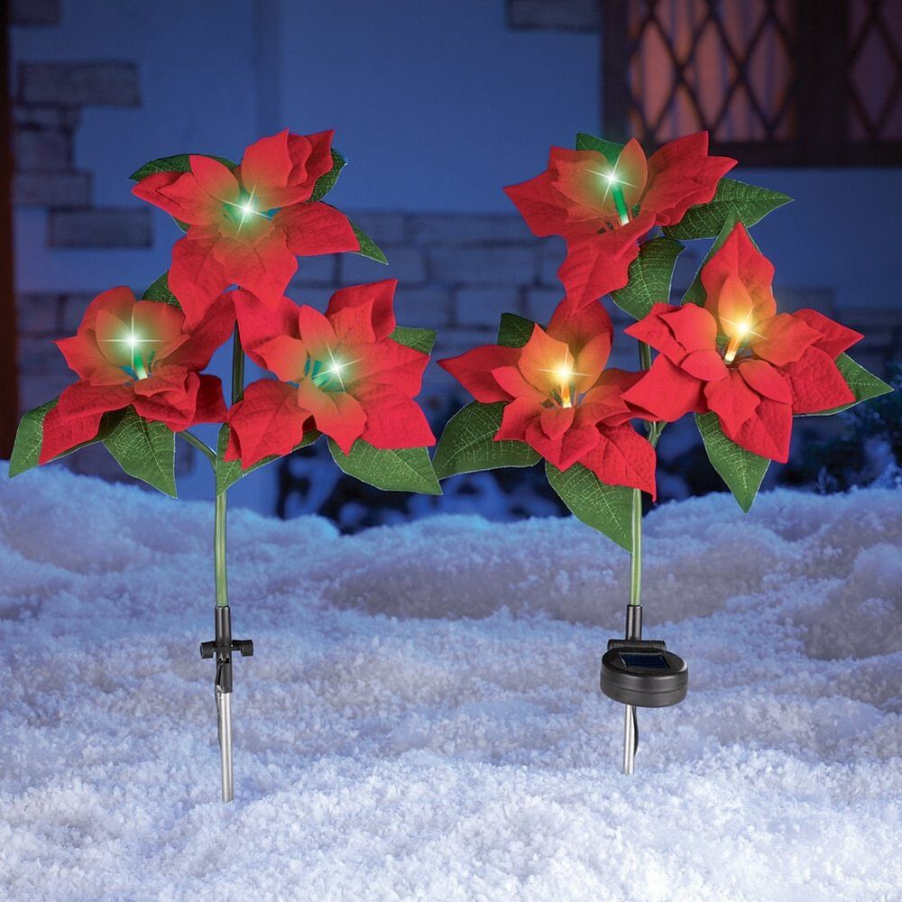 Set Of 2 Color Changing Solar Poinsettia Stakes Lawn Yard
