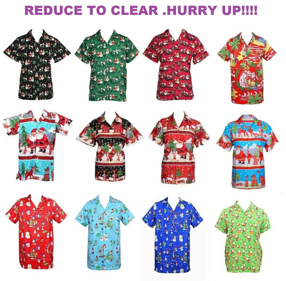 59401213b MENS CHRISTMAS SANTA XMAS HAWAIIAN SHIRT HAWAII GIFT HIM PARTY HOLIDAY S - XXL D9 | eBay