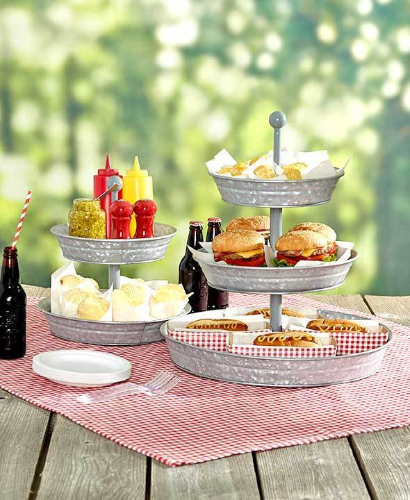 2 or 3 tier galvanized serving tray or caddy outdoor country party snack stand ebay. Black Bedroom Furniture Sets. Home Design Ideas