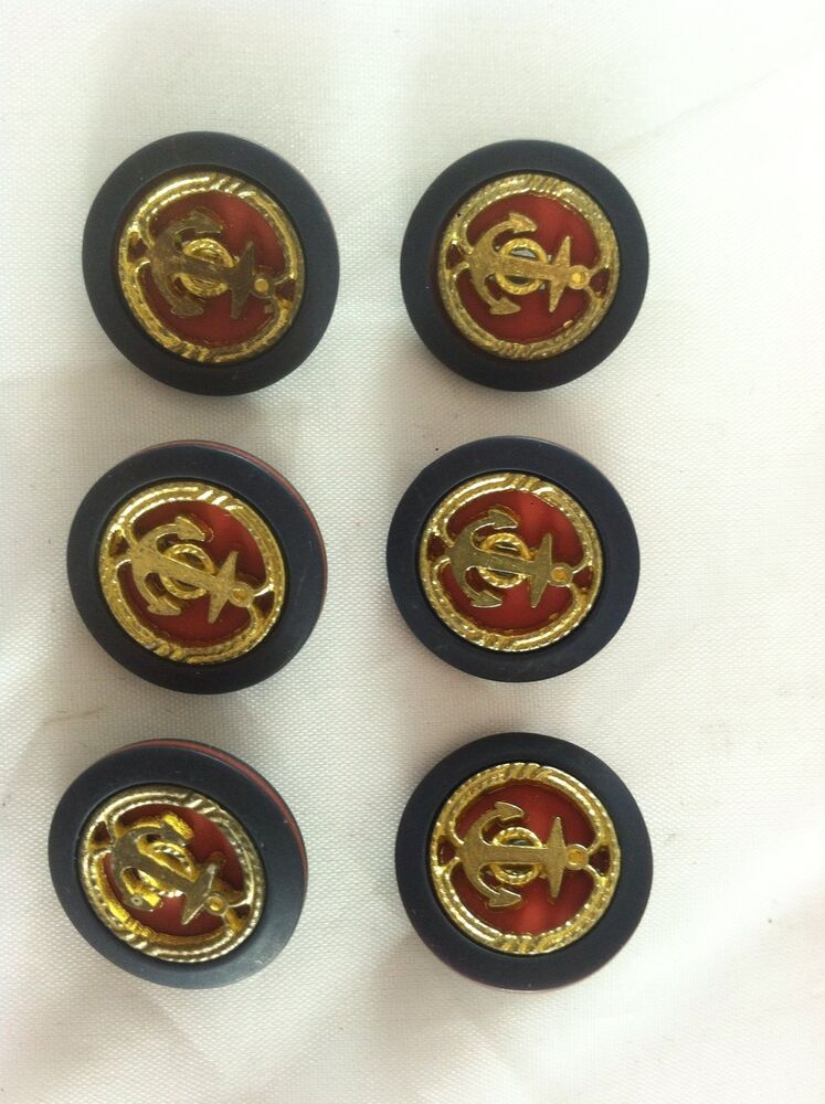 6 Nautical Anchor Navy Red And Gold Button Set Ebay